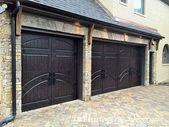 Modern Custom Rustic Iron Style Dark Triple Garage Door