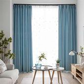 Zeitgenossisch Solide Blau Vorhang Modern Einfach Vorhang