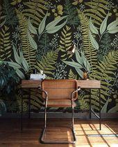 Botanical Green Peel and Stick Wallpaper – Fern Wallpaper Mural – Self Adhesive Wallpaper – Removable Wallpaper – Simple DIY Mural b08