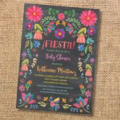 Fiesta Floral Baby Shower Invitation Watercolor Mexican Floral Bridal Shower Invite Chalkboard Bright Flowers Birthday Going Away Party