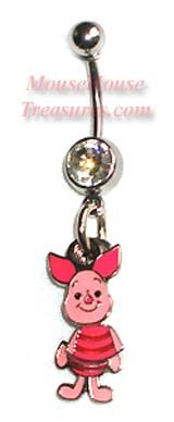 Winnie the Poohs /& Tiggers Friend Piglet Head Shot Belly Ring Navel Ring S.S.