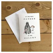 Best Father in the Galaxy Leia // Darth Vader, Father's Day card, Star Wars card, card for dad, punny, greeting card, nerdy, dad birthday
