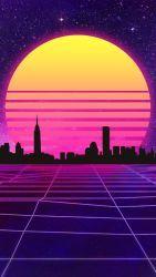 Retrowave Wallpaper Mobile By Halukaliev Retro Futurizm Retro Volny Neonovyj Stil