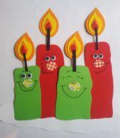 Süßes Fensterbild – Kerzen für Advent – Weihnachten – Winter – Tonkarton F …   – Deko