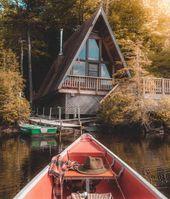 """A-Frame Addicts on Instagram: """"Commuting by canoe, A dream come true. FOLLOW US!!! @aframeaddicts 📷: @kylefinndempsey ° ° ° ° #aframe #aframeallday #aframecabin…"""""""