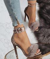 Knöchelriemen Snake Print Damenmode High Heels Schuhe
