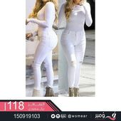 4ceb00211ce3756f45b97abcd01a3be6  patterned jeans white denim jeans - #بنطلونات_نسائية #جذابة لاطلالة #انثوية #فاتنة #بنطال_