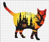 KAUF 2 UND BEKOMME 1 GRATIS DAZU! Halloween Katze Kürbis Aquarell 838 moderne Kreuzstichmuster gezählt Kreuzstich Diagramm Pdf-Format sofort-Download