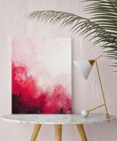 Watercolor print, canvas art, red abstract art, canvas, art print, wall art, watercolor, home decor, wall decor