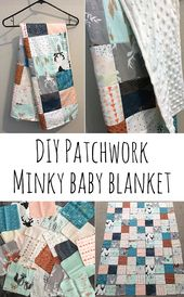 Patchwork Minky Babydecke   – Sewing
