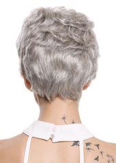 Per¨¹cke Damen Herren Echthaar kurz wellig modisch silbriges Grau Silbergrau #Ad , #AD, #Echthaar#kurz#Herren –  – #Kurzhaarfrisuren