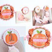 PUMPKIN GIRL Birthday Photo Banner – Little Pumpkin 12 Month Photo Banner – Fall First Birthday Party Photo Banner – Pink, Orange – Marigold
