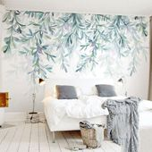 Mural wallpaper decor with pastel nature inspired designs. The beautiful Fores…