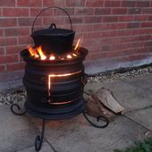 Wheel Rim Wood Burning Stove – Upcycled Log Burner for Patio and Outdoors with Hand Forged Features