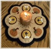 Details about PATTERN~Little Pilgrims~Thanksgiving~Turkey Pumpkin Penny Rug/Candle Mat