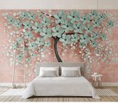 Custom Creative Tree Small Flowers Wallpaper, 3D TV Background Trees Flowers Wall Home Decoration Background Mural 3d Wallpaper