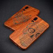 Phone Case Handmade For Huawei P20 Pro Case Carved Skull Natural Wood Bamboo Cover For Huawei P20 P2...
