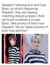 Dispatch Confirms That Nct S Yuta And Kun Are Dating Due To Wearing Matching Jumpers Match Nct Striped Jumper