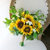 Bridal Bouquet,Sunflower Wedding Bouquet, Rustic Boho Flower Bouquet, Design in Sunflower and Eucalyptus – Sunflower themed wedding