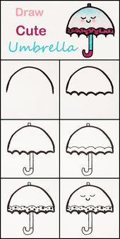 Apprenez à dessiner un joli parapluie pas à pas ♥ tutoriel très simple #umbrell …