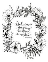 Ecclesiastes 3:11 Hand Lettered Floral Art Print – #Art #Ecclesiastes #floral #H… – FPÜ