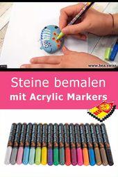 Steine bemalen mit Acrylic Markers
