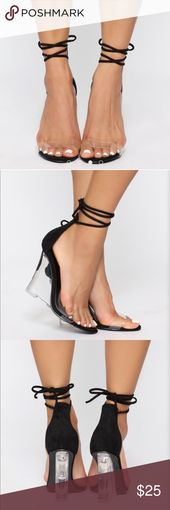 Modern measurement 10 black and clear wedge heels. By no means worn measurement 10, three half of inch …