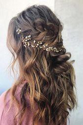 curly wedding hairstyles messy boho half up half down with braids on long brown hair svglamour via instagram #weddinghairstylesshort