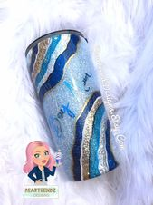 Blue Agate Slice Tumbler, Personalized Tumbler, Gifts for Her, Skinny Glitter Tu…   – Products