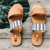 Qupid Shoes   Restocked Camel Striped Flat Vacation Sandals   Color: Tan/White  …