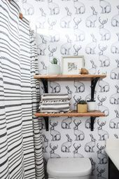 Jackalope Wallpaper + How to Smooth Textured Walls