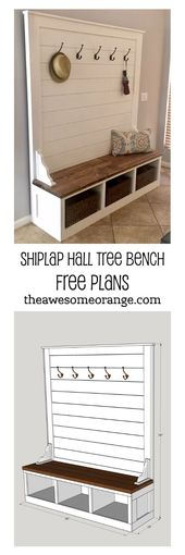 Shiplap Hall Tree Bench Plans – UPDATED 1.8.19