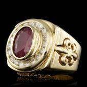 ORO AMARILLO 14K 7.00CT RUBY 2.10CT DIAMANTE ANILLO PARA HOMBRE – Maytal Jewelry   – Mens white gold rings