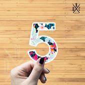 "Number ""5"" Tropical Vinyl Sticker, Best Friend Gift, Laptop Decals, Name Stickers, Monogram, Macbook"