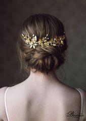 Wedding headdress veil, bridal back headpiece, hair accessories for updos, greek hairpiece gold, wedding hair, leaf halo – …