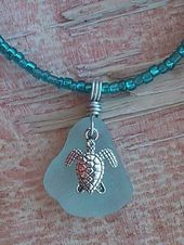 Sea Turtle Sea Glass Jewelry Necklace Artisan 20″/22″ Beaded Hand Crafted Beach … – Stylekleidung.com