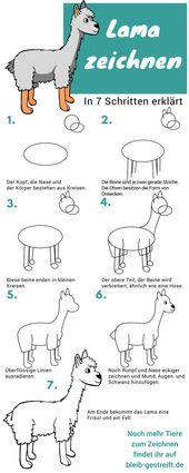Lamas zeichnen lernen – eine Anleitung mit 7 Schritten #steinebemalenvorlagen Lama zeichnen