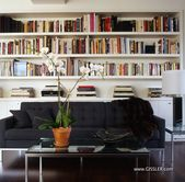 Shelves above couch (but space behind… only for …