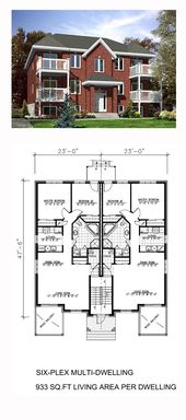 Multi Family Plan 48066 With 12 Bed 6 Bath Apartment Floor Plans Courtyard House Plans House Plans