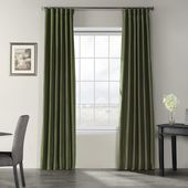 Exclusive Fabrics & Furnishings Pine Top Green Vintage Textured Faux Dupioni Silk Light Filtering Curtain – 50 in. W x 120 in. L-PDCH-KBS32-120