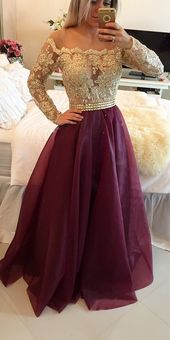Long Sleeves Prom Dresses Gold Illusion Lace Beaded Burgundy A-line Gorgeous Evening Gowns 2