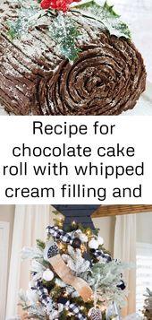 Rezept für Schokoladenkuchenrolle mit Schlagsahnefüllung und Schokoladenglasur, dekoriert auf Klo 1