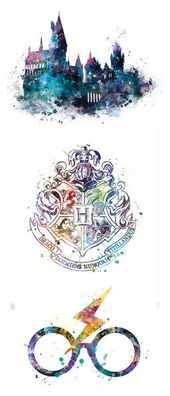 Harry Potter printable wall art | Hogwarts, house crests, glasses and scar | Watercolor home decor | Dorm room poster | nursery art | instant download…