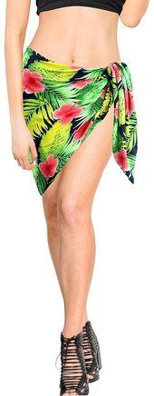 LA LEELA Swimsuit Cover-Up Sarong Beach Wrap Skirt Hawaiian Sarongs for Women Plus Size Short Half Mini ZZ