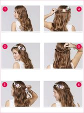 Curly hairstyles half pinned up