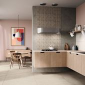 Modern kitchen in soft colors with tiles in pattern look