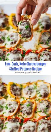 Low Carb, Keto Cheeseburger Gefüllte Paprika Rezept # Keto # Low Carb # Cheeseburger   – Appetizer recipes