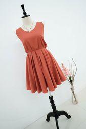 Cobre Rust Naranja Vestido Dusty Naranja Rust Novia Vestido De Etsy Vestidos De Fiesta Sin Espalda Vestir Con Estilo Vestido Naranja