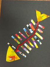 Fine Lines: First Grade Fish Collage –