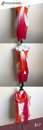 "Calvin Klein Pink Orange Wrap Scarf Sarong New with tags  100% Rayon 75"" long;…"